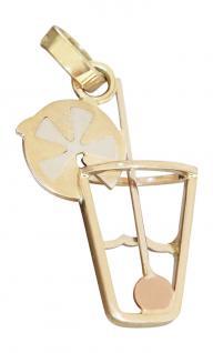 Origineller Anhänger Gold 585 bicolor Cocktail Glas Goldanhänger Barkeeper 14 Kt