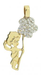 Schutzengel Gold 585 mit Blume - Goldanhänger Anhänger Engel - Goldengel 14 kt