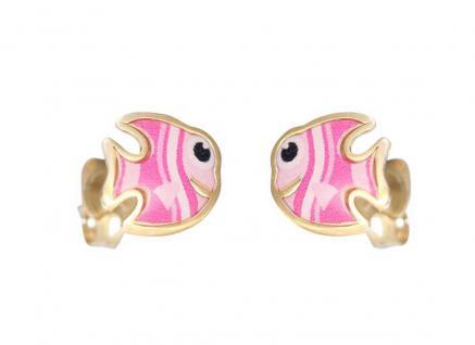 Kinder Ohrstecker Gold 585 kleine Fisch Ohrringe pink emailliert Goldstecker
