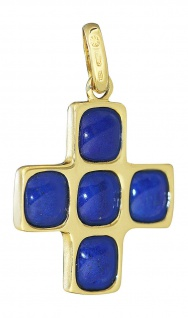 Tolles Designer Kreuz mit Lapis - Anhänger Gold 750 Goldanhänger Goldkreuz 18 kt