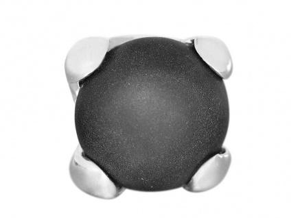 Ring Weißgold 585 mit Onyx massiver Damenring schwarz weiß 14 Karat WG