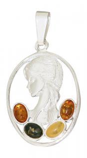 Anhänger Madonna Silber 925 mit Bernsteinen - ovaler Silberanhänger - Schönheit