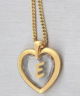 Buchstabe E Goldkette und Anhänger Herz vergoldet Kristallherz Panzerkette Gold