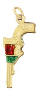 Anhänger Gold 750 Revolver Kettenanhänger 18 Karat Gelbgold mit Email Schmuck