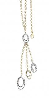 Goldkette 585 Gelbgold Collier 14 Karat bicolor Kette Y-Halskette Anhänger
