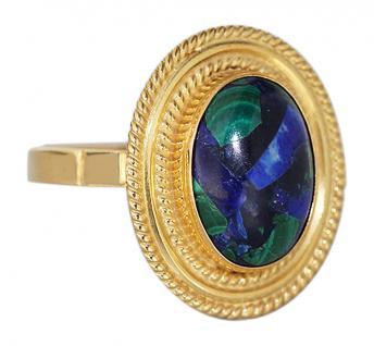 Großer Goldring 750 mit Azurit toller Ring Gold 18 kt Damenring Azuritring