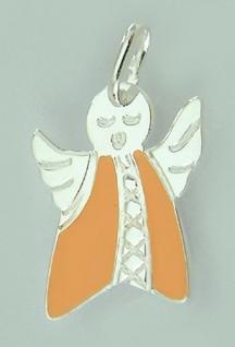 Bezaubernder Schutzengel Silber 925 mit Kleid in Orange Silberanhänger Engel