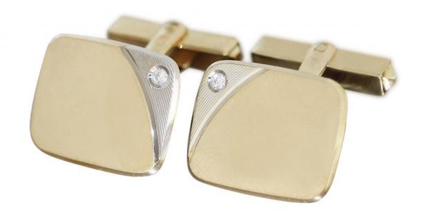 Manschettenknöpfe Gold 585 massiv mit Brillanten 0, 06 ct. Goldmanschettenknöpfe