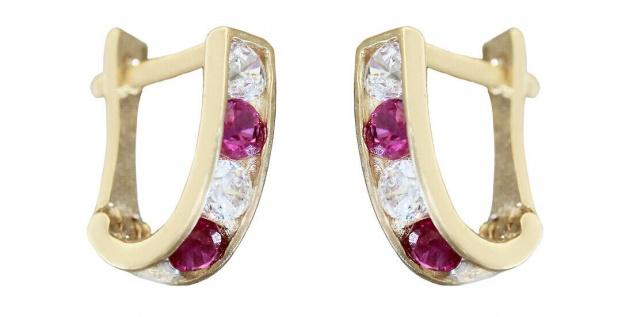 Kleine Ohrringe Gold 585 Zirkonias pink weiß Creolen Mädchen Damen 14 Karat