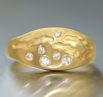 Moderner Goldring 750 mit Zirkonias - super Design - Ring echt Gold 18 kt massiv