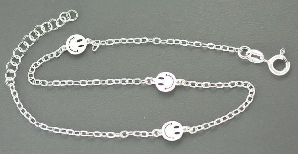 Smiley Fußkette Silber 925 - Fußkettchen mit Smileys - Silberkette