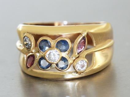 Ring Gold 585 Ring in 14 kt Gold (585/000) mit 4 Safiren, 2 Rubinen und 3 Zirkon
