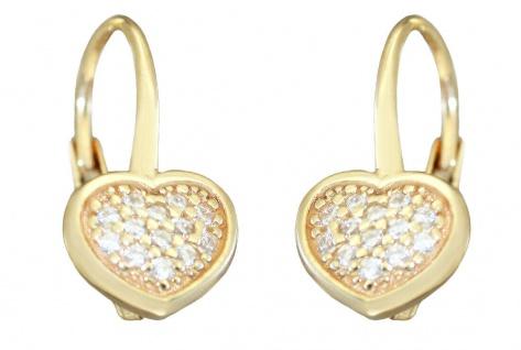 Ohrhänger Gold 585 Herzen mit Zirkonias Ohrringe Brisur Kinder Damen