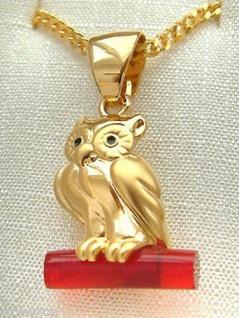 Kette und Anhänger Eule Gold pl Panzerkette und Eule vergoldet Goldkette pl