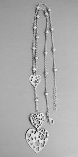 Silberkette 925 mit Herz Anhänger Collier Silber Kugel Kette Halskette Karabiner