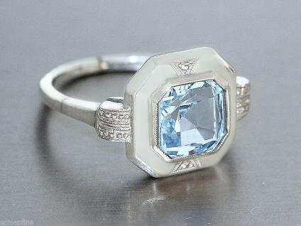Ring in Silber (800) mit 1 Schmuckstein in blau Silberring
