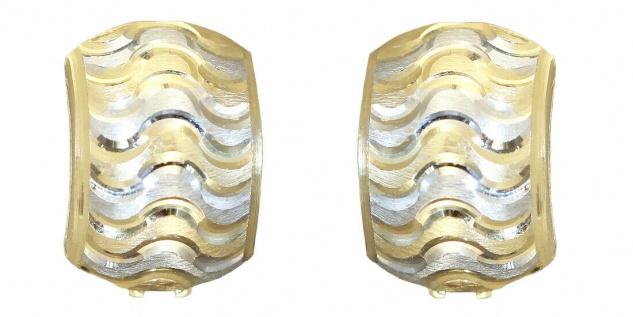 Breite Klappcreolen Gold 585 bicolor Ohrringe breite Creolen Gold 14kt