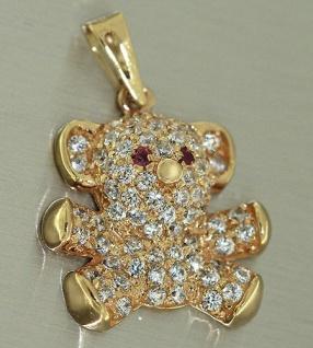 Teddybär - Anhänger Gold 585 mit Zirkonias und Rubinen - Goldanhänger 14 Karat
