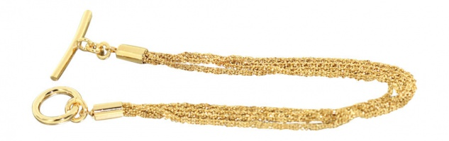 4-reihiges funkelndes Silberarmband 925 vergoldet - Armband Silber Gold Armkette