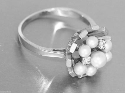 Ring Weissgold 585 - Damenring in 14 kt Weissgold mit 6 Perlen + Brillanten