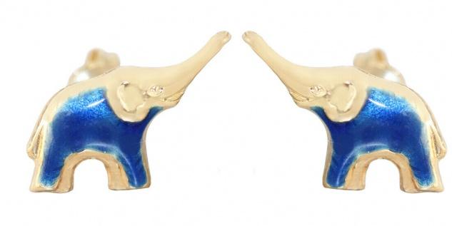 Elefanten Ohrstecker Gold 750 Ohrringe blau emailliert Ohrschmuck 18 Karat