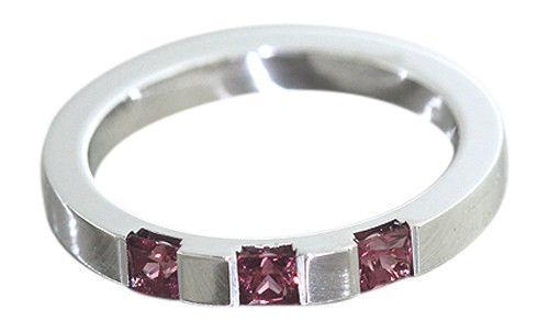 Edler Silberring 925 mit Rhodolith Granat Carrees massiver Ring Silber Bandring