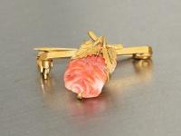 Brosche Gold 250 mit 1 Korallenrose - Brosche in 9 kt Gold, Arbeit um 1900