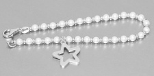 Armband Silber 925 Perlen weiß Stern Anhänger Armkette 19 cm Damen Schmuck
