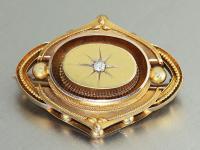 Brosche Gold 585 mit 1 Brillant, Goldbrosche 14 kt Biedermeier