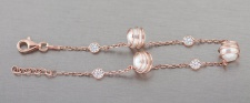 Elegantes Armband Silber 925 Rotgold mit Perle u Zirkonia Silberarmband Armkette