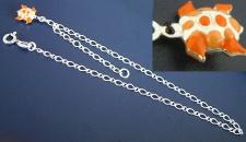 Fußkettchen Silber 925 massiv mit Schildkröte in Orange Fußkette - Silberkette