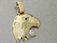 Großer Adlerkopf aus Gold 585 mit Brillant 0, 05 ct. - Goldanhänger Adler 14 kt
