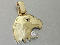 Großer Adlerkopf aus Gold 585 mit Brillant 0, 05 ct. Goldanhänger Adler 14 kt
