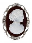 Brosche Steincamee 1900 - sammelwürdige Brosche - Karneol Gold und Silber