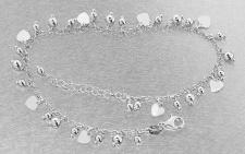 Fußkette Silber 925 Kugel Herz Anhänger Fußkettchen massiv Karabiner Herzen
