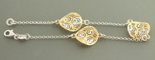 20 cm Armband Silber 925 massiv - bicolor Silberarmband Armkette Silber Gold pl