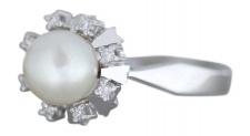 Perlenring Weißgold 585 m. Perle + Diamanten 0, 10 ct. Ring Perle Damenring Gold