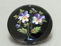 Brosche mit Emailmalerei, Blumenmotive, runde Brosche