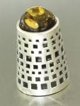 Fingerhut Silber 925 mit grünem Bernstein - zum Sammeln - Silberfingerhut massiv