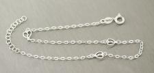Massive feine Fußkette Silber 925 - Fußkettchen mit Herzen - Silberkette Herz