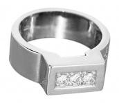 Massiver Brillantring 0, 18 ct. - moderner Weißgoldring 585 - Ring Weißgold 14 kt