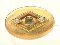 Antike Brosche Gold 750 von 1870 - mit Peridot und Perlen - Goldbrosche 18 kt