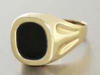 Ring Gold 585 mit Onyx Herrenring 14 Karat Goldring RW 69