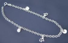 Trendy Fußkettchen Silber 925 mit Plättchen und Elefanten - Fußkette Silberkette