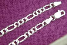 20 cm massives Figaroarmband Silber 925 - Armband Silber Armkette Silberarmband