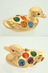 Entzückende Ente mit bunten funkelnden Kristallen - Miniatur für die Vitrine
