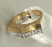 Schwerer Goldring 585 - bicolor Ring Gold m.11 Brillanten - Luxus Damenring 14kt