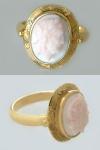 Ring Gold 585 aus den 30er Jahren mit Korallenkamee - Goldring - Damenring 14 kt