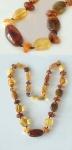 Dekorative Bernsteinkette multicolor - Kette echter Bernstein Halskette Collier