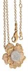 Exklusives Collier Gold 750 mit Brillant Anhänger Blume 0, 60 ct. und Goldkette